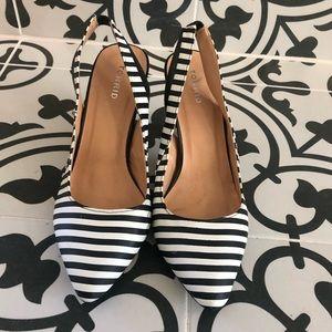 Torrid Black White Striped Sling Back Low Heel